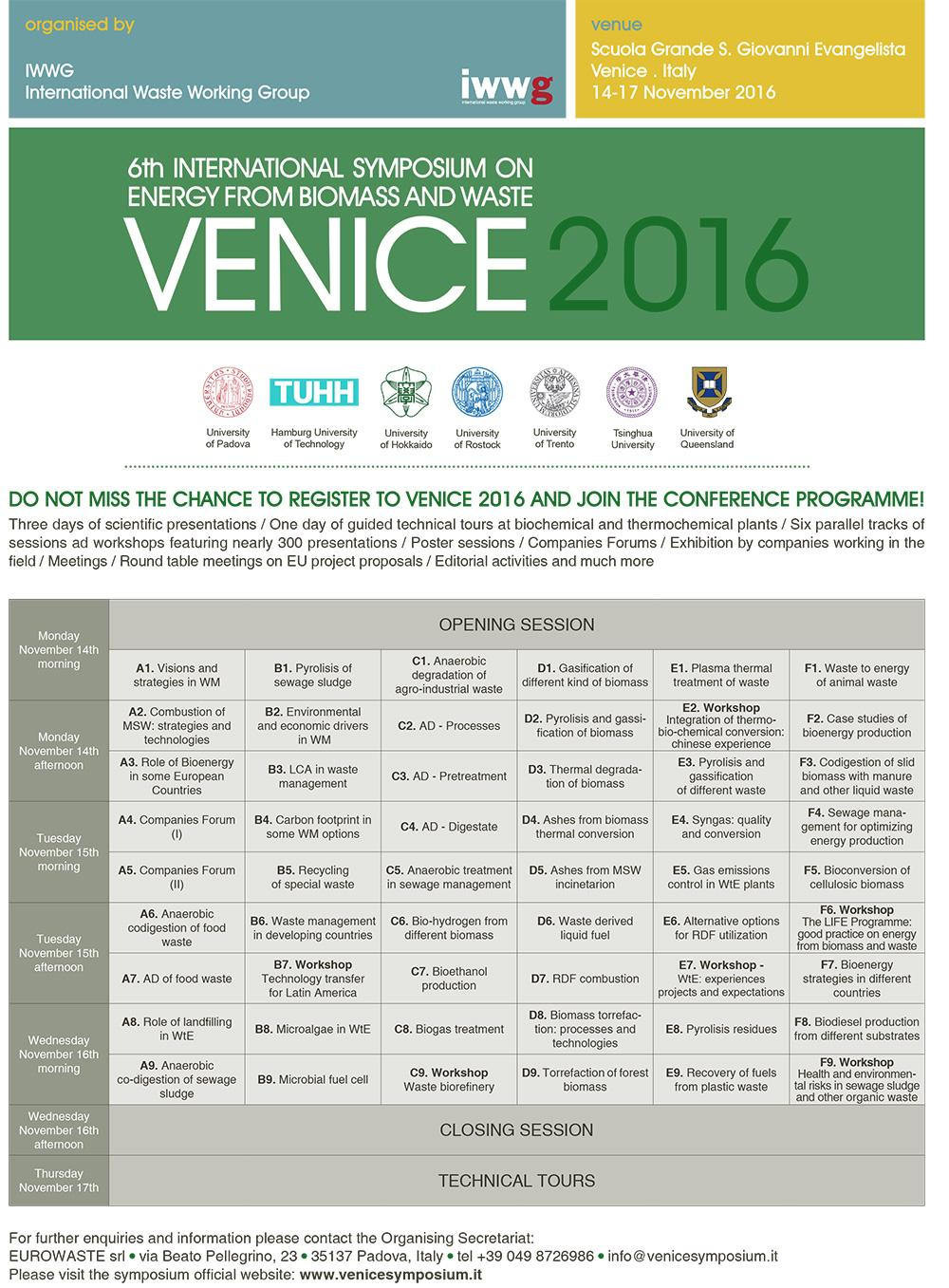 6th INTERNATIONAL SYMPOSIUM ON ENERGY FROM BIOMASS AND WASTE - VENICE  2016